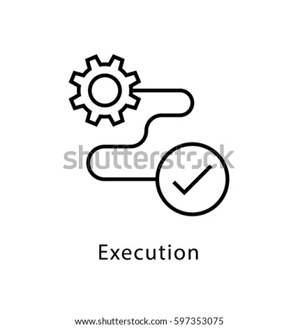 Execution Vector line Icon  ストックフォト ©