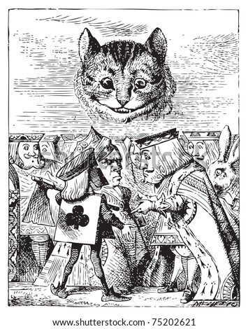 Executioner argues with King about cutting off Cheshire Cat head - Alice's Adventures in Wonderland original vintage engraving. - stock vector