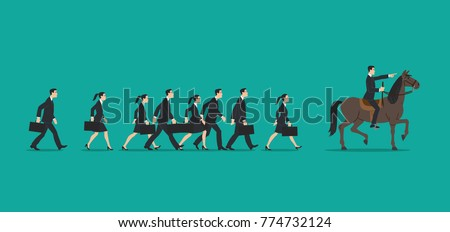 executives in a row walking in