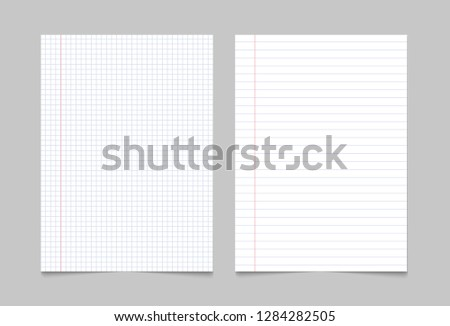 Exercise book paper page background. Notebook sheet lined texture pattern.