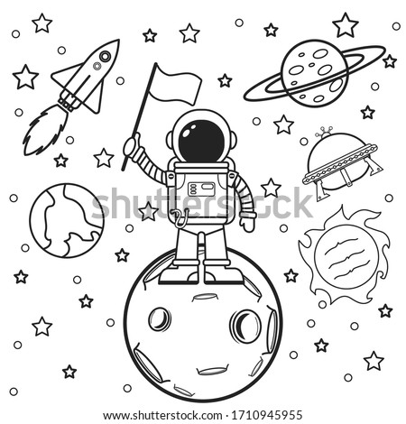 Exercise book sheet with space strokes, symbols and design elements: astronaut, UFO, planets, stars, rockets. Cartoon background. Vector illustration of a hand drawn.