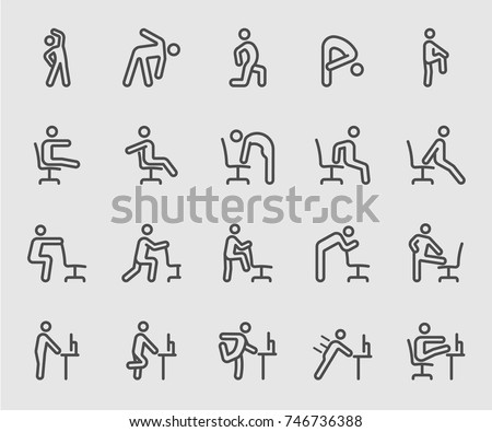 Exercise for People working, office, workplace line icon
