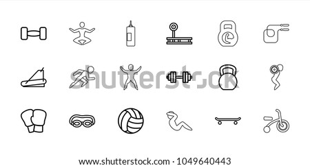 Exercise icons. set of 18 editable outline exercise icons: kettle bell, fintess equipment, boxing gloves, skating, swimming glasses, treadmill, barbell, barbell   isolated