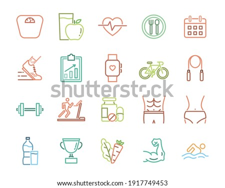 Exercise, nutrition, run and healthy program line icons set.