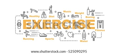exercise vector banner design concept, flat style with thin line art exercise icons on white background