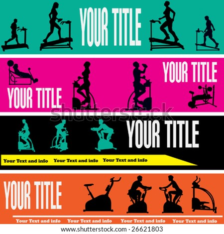 Exercise Web Banner Vector Templates for a Health Club or Gymnasium