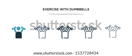exercise with dumbbells icon in different style vector illustration. two colored and black exercise with dumbbells vector icons designed in filled, outline, line and stroke style can be used for