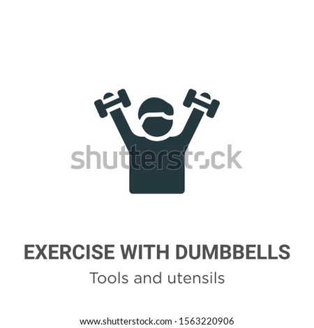 Exercise with dumbbells vector icon on white background. Flat vector exercise with dumbbells icon symbol sign from modern tools and utensils collection for mobile concept and web apps design.