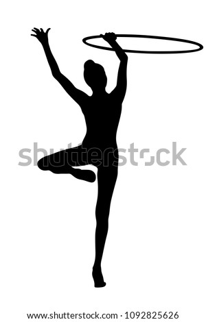 exercise with hoop rhythmic gymnastics back young woman