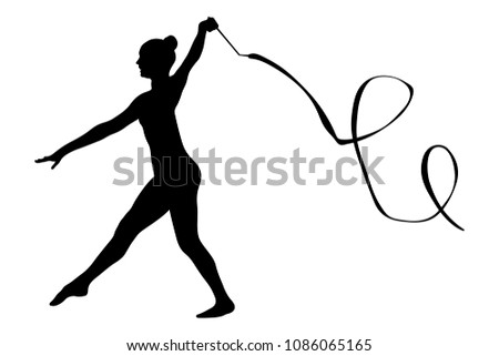 exercise with ribbon female gymnast competition rhythmic gymnastics