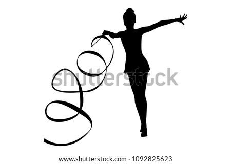 exercise with ribbon rhythmic gymnastics girl black silhouette