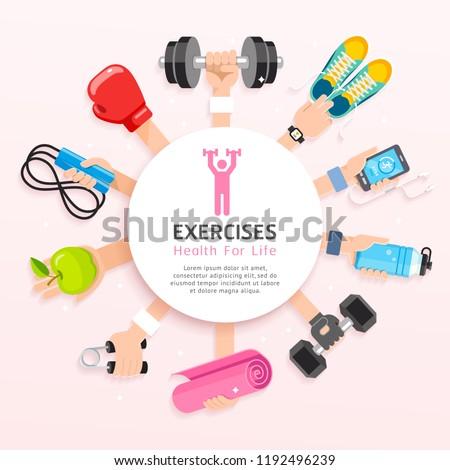 Exercises conceptual design. Set of Exercises hands. Vector Illustrations.