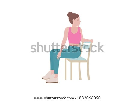 Exercises that can be done at-home using a sturdy chair. An exhale, float the arms back down to your sides a twist as you exhale.  with SUN SALUTATIONS WITH TWISTS posture. Cartoon style.
