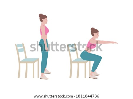 Exercises that can be done at-home using a sturdy chair. Extend arms in front and level with the shoulders. Slowing bending at the hips and lower down to sit on the chair. with Chair Squats posture.