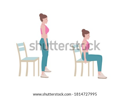Exercises that can be done at-home using a sturdy chair. Once standing, raise your head so you are looking forward and pull the shoulders down and back. Slowly lower yourself back down to sitting.