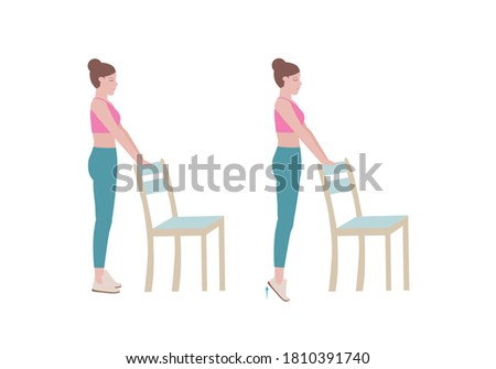 Exercises that can be done at-home using a sturdy chair. Stand on a step so your heel can drop lower than the rest of your foot at the bottom of the movement. with Calf raises posture. Cartoon style.