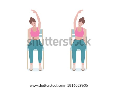 """Exercises that can be done at-home using a sturdy chair. With the right hand, grip the right side of the seat. Extend the left hand above the head making of a """"C"""" with Seated Side Stretch posture.  ストックフォト ©"""