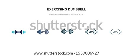 exercising dumbbell icon in different style vector illustration. two colored and black exercising dumbbell vector icons designed in filled, outline, line and stroke style can be used for web,