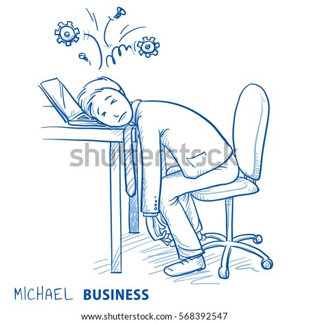 exhausted business man at his
