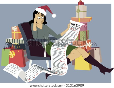 exhausted woman in a santa hat