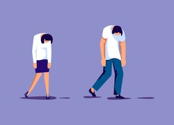 Exhaustion business people in prostration with wind-up key in her back. Overwork and professional burnout metaphor. Isolated on purple. Flat Art Vector Illustration