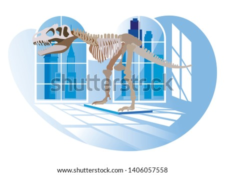 Exhibition Center. Vector Illustratio . Dinosaur in Background Window in Museum. Visit History Exhibition. Watch Exclusive Exhibits. View from Back. Dinosaur Skeleton in Anthropological Museum.
