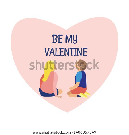 Exhibition Center. Vector Illustration. White Background. Through Museum. Visit Exhibition. Clothes Pastel Tones. Art Gallery. Watch Exclusive Exhibits. View from Back. Be My Valentine. Boy and Girl.
