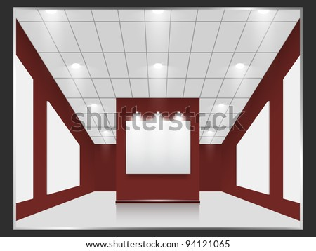 Exhibition hall with white frames on the red wall, illuminated by floodlights. Part of set. Vector interiors.