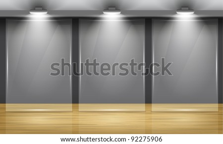 Exhibition hall with wooden floor and the three glass frame in middle of the room, illuminated by searchlights. Part of set. Vector interiors.