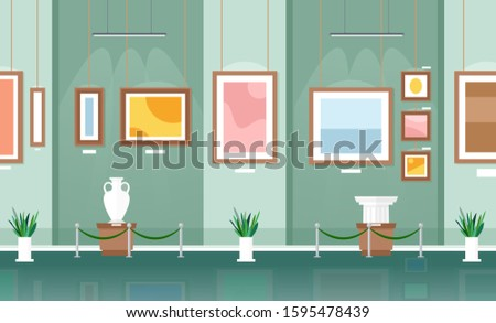 Exhibition in Museum visitors looking at classical work of art, museum guide telling girl about exhibits, people attending museum horizontal vector Illustration