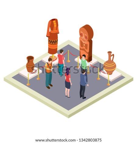 Exhibition of antiquities, art gallery isometric vector concept