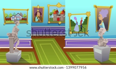 Exhibition of Modern Abstract and Ancient Artists Paintings Hang on Walls at Contemporary Art Gallery. Creative Artworks or Exhibits in Museum. Empty Room with Nobody. Cartoon Flat Vector Illustration