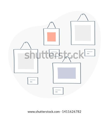 Exhibition or exposition, paintings, picture in frames at the art gallery. Creative artworks or exhibits in the museum or portfolio, album. Flat colorful vector illustration in outline design style