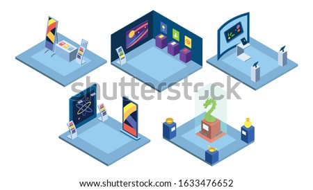Exhibition places interiors isometric vector illustration. Art gallery, trade show, science fair isolated 3d layouts on white. Tradeshow stands, museum exhibits, historical exposition artifacts,