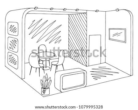 Exhibition stand graphic interior black white sketch illustration vector