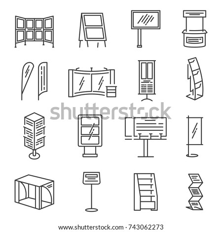 Exhibition stand icon set. Section of an exhibition for company to show product or information, commercial fair display. Vector line art illustration isolated on white background