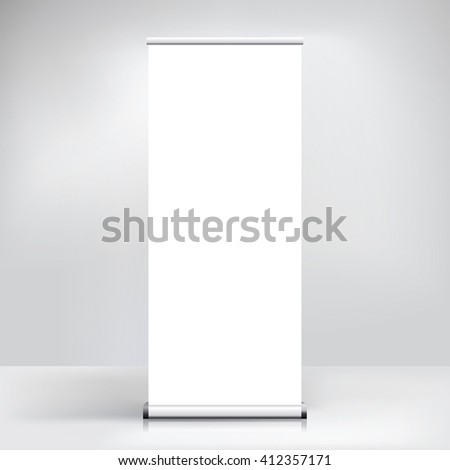 Exhibition stand roll-up banner template vector