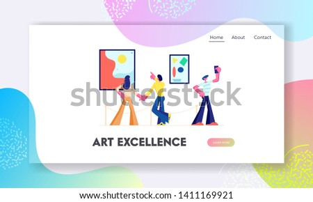 Exhibition Visitors View Modern Abstract Paintings at Contemporary Art Gallery. People Watching Artworks or Exhibits in Museum. Website Landing Page, Web Page. Cartoon Flat Vector Illustration, Banner