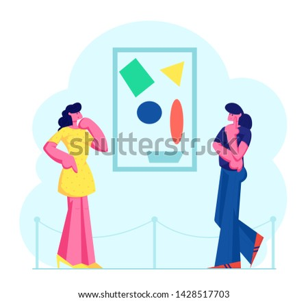 Exhibition Visitors Viewing Modern Abstract Paintings Hanging on Wall at Contemporary Art Gallery. Women Enjoying Watching Creative Artworks or Exhibits in Museum. Cartoon Flat Vector Illustration