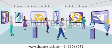 Exhibition Visitors Viewing Modern Abstract Paintings Hanging on Walls at Contemporary Art Gallery. People Enjoying Watching Creative Artworks or Exhibits in Museum. Cartoon Flat Vector Illustration