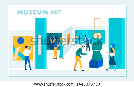Exhibition Visitors Viewing Museum Art, Modern Abstract Paintings Hanging on Walls at Contemporary Art Gallery. People Enjoying Creative Artworks or Exhibits. Cartoon Flat Vector Illustration, Banner