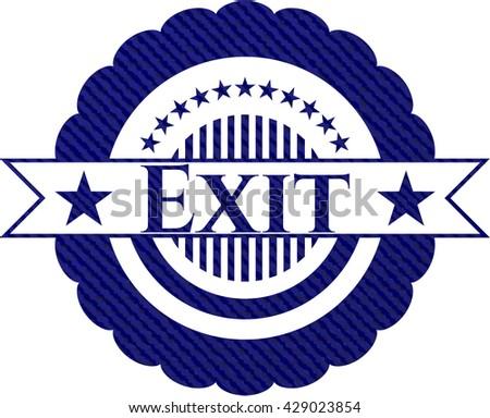 Exit jean or denim emblem or badge background
