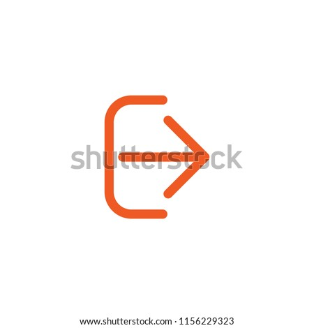 Exit or logout, log off icon. Isolated on white. red thin right rounded arrow with bracket. Sign out icon. Profile, user sign. Arrow in box. quit, export, file, import, share