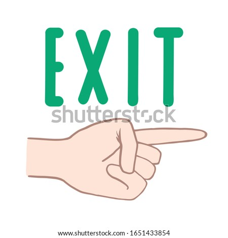Exit. Pointer. Pointer finger. Vector color sketch in cartoon style. Vector hand drawing.