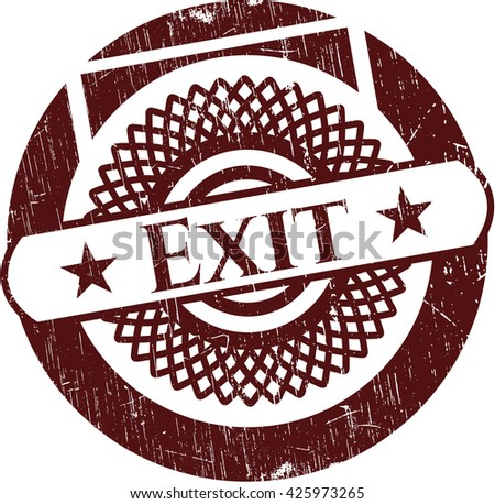 Exit rubber stamp with grunge texture
