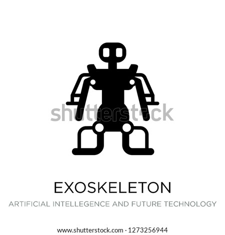 exoskeleton icon vector on white background, exoskeleton trendy filled icons from Artificial intellegence and future technology collection, exoskeleton simple element illustration