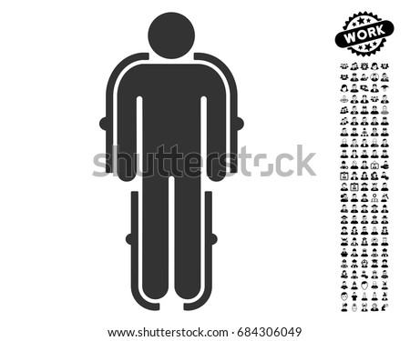 Exoskeleton icon with black bonus professional clip art. Exoskeleton vector illustration style is a flat gray iconic symbol for web design, app user interfaces.
