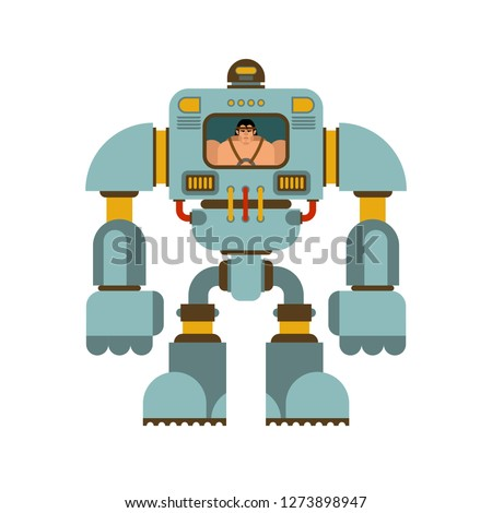 Exoskeleton mechanical technology robotic skeleton. Iron suit robot.  Metallic clothing cyborg. Vector illustration