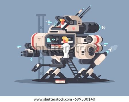 Exoskeleton medical for complex operation. Innovative medicine technologies. Vector illustration