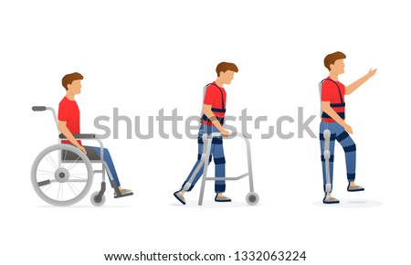 Exoskeleton rehabilitation. Evolution of disabled man. Character on wheelchair, stay with crutches, walking with exosuit. Vector illustration